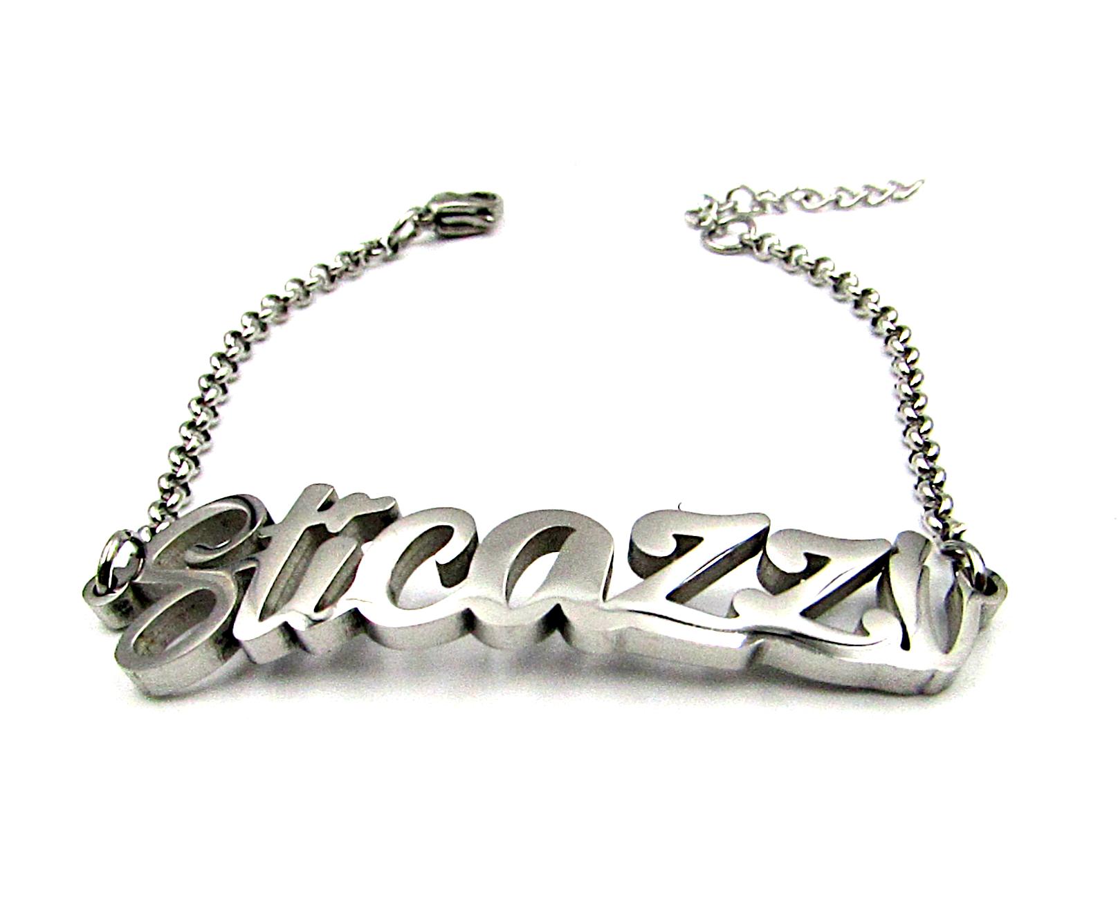 prezzo competitivo 57750 09529 Dettagli su Bracciale donna in acciaio inox a maglia scritta sticazzi con  braccialetto da